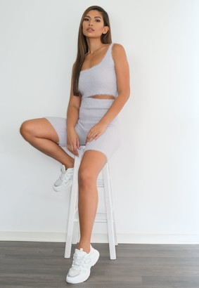 Missguided Grey Fluffy Rib Knitted Top And Cycling Short Set