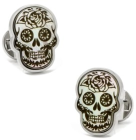 Cufflinks Inc. Day of the Dead Skull White Mother of Pearl Cufflinks