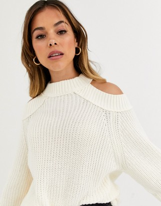 Free People Half Moon high neck jumper-White