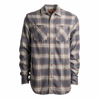 Timberland Men's A1P41 Woodfort Flex Flannel Work Shirt - X-Large - Forest Plaid Beige
