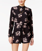 SHIFT Juniors' Printed Back-Cutout Romper, Created for Macy's