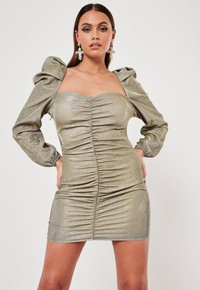 Missguided Gold Glitter Ruched Front Milkmaid Mini Dress