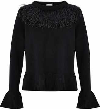 Cinq à Sept Ostrich Feather-embellished Wool-blend Sweater