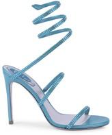 Rene Caovilla Cleo Ankle-Wrap Crystal-Embellished Satin Sandals