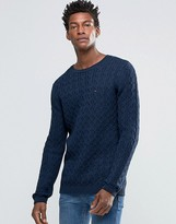 Hilfiger Denim Jumper With Cable Knit In Navy