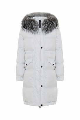 Mr & Mrs Italy Long Down Jacket For Woman With Fox Fur