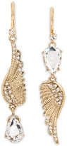 Betsey Johnson Gold-Tone Wing and Patina Crystal Mismatch Earrings