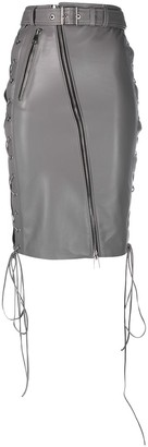 Manokhi Biker-Style Leather Skirt