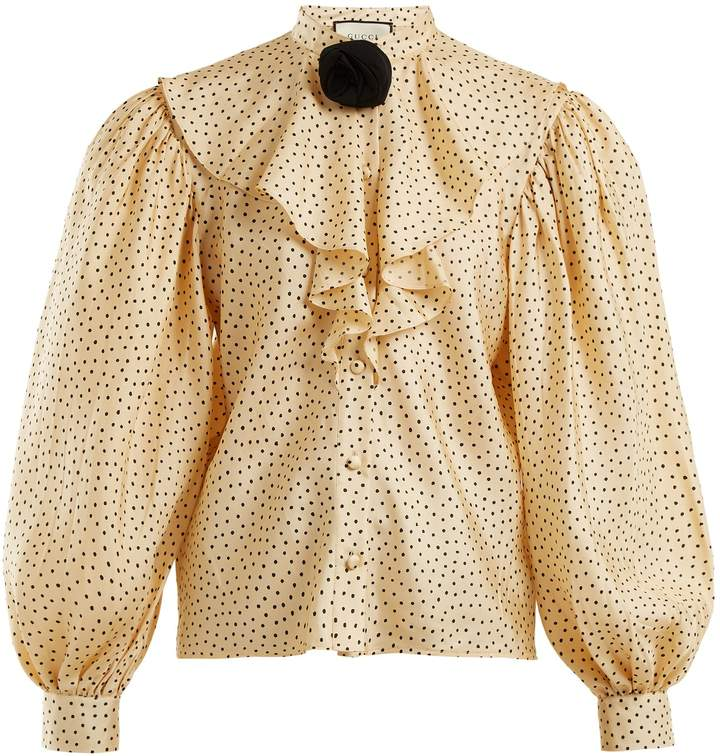 Gucci Polka-dot print silk-twill shirt