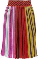 Missoni Pleated Metallic Stretch-knit Skirt - Red