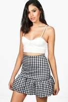 boohoo Luna Gingham Drop Peplum Mini Skirt