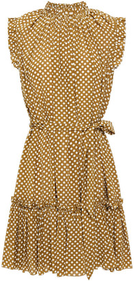 Zimmermann Belted Gathered Polka-dot Silk Crepe De Chine Mini Dress