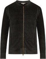 John Varvatos Zip-through Silk And Cashmere-blend Sweater