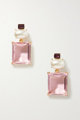 Kenneth Jay Lane + Brandon Maxwell Gold-tone, Crystal And Faux Pearl Earrings - one size