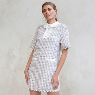 Jovonna London Cream Luma Tweed Shift Dress - extra small