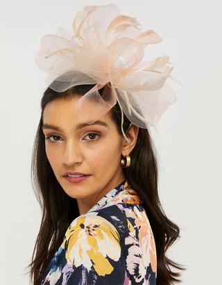 Under Armour Carrie Oversized Loop Fascinator with Feathers Nude