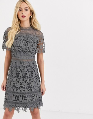 Chi Chi London high neck lace pencil midi dress in charcoal