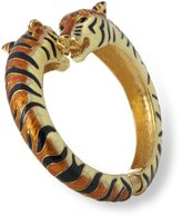 Kenneth Jay Lane Black/Tan Tiger Head Enamel Bypass Bangle Bracelet