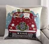 Pottery Barn Road Trip Santa Crewel Embroidered Pillow Cover