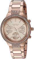 Bulova Caravelle 44L180 Women's New York Rose Gold Dial Rose Gold Steel Chronograph Crystal Watch