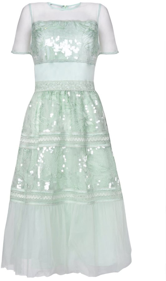 True Decadence Mint Sequin Embroidery Skater Dress