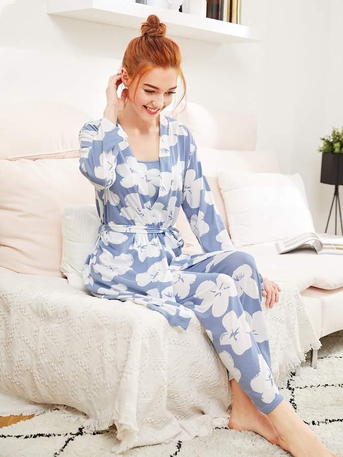 Calico Print Cami Pajama Set With Robe
