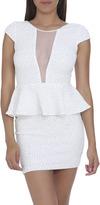 Arden B Textured Sparkle Peplum Dress
