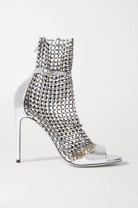 Rene Caovilla Galaxia Crystal-embellished Mesh And Metallic Watersnake Sandals - Silver