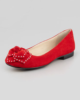 Taryn Rose Babylon Studded Flower Ballerina Flat, Red