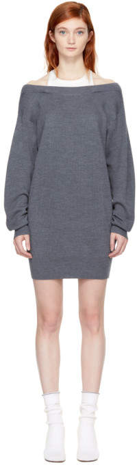 Alexander Wang Grey and Off-White Bi-Layer Dress