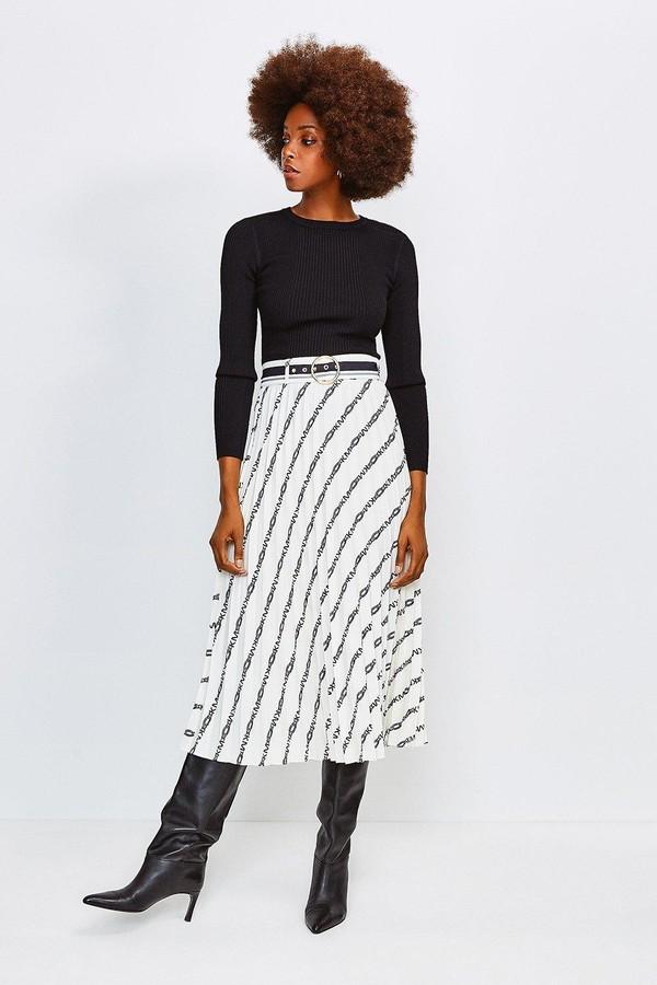 Karen Millen Logo Border Print Skirt With Sunray Pleats