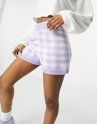ASOS DESIGN co-ord knitted shorts in gingham pattern in lilac