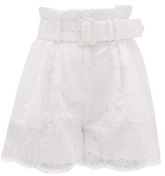 Self-Portrait High-rise Belted Lace-overlay Shorts - Womens - White