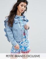 Glamorous Petite Ruffle Detail Denim Jacket