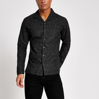 Jack and Jones Mens River Island Black leopard print shirt