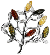 Goldmajor Amber Sterling Silver Tree Brooch, Multi