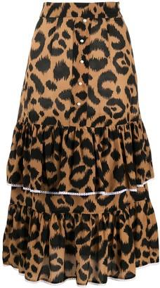 Hayley Menzies High Waisted Leopard Print Skirt