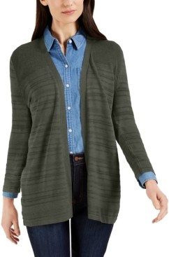 Karen Scott Petite Pointelle-Knit 3/4-Sleeve Cardigan, Created for Macy's