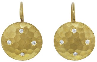 Cathy Waterman Diamond Hammered Disc Yellow Gold Earrings