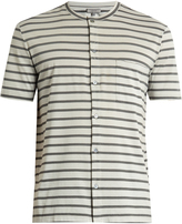 Lanvin Striped button-through cotton T-shirt