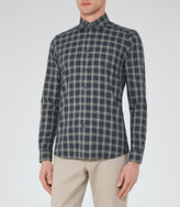 Reiss Reiss Saint - Slim Checked Shirt In Green