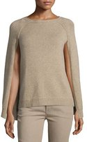 Ralph Lauren Knit Cashmere Cape-Sleeve Sweater, Oatmeal