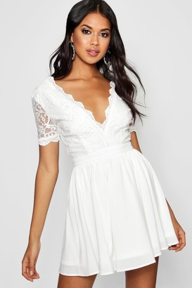boohoo Lace Top Skater Dress