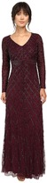 Adrianna Papell Long Sleeve V-Neck Beaded Gown