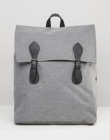 Asos Backpack In Gray Marl With Contrast Trims