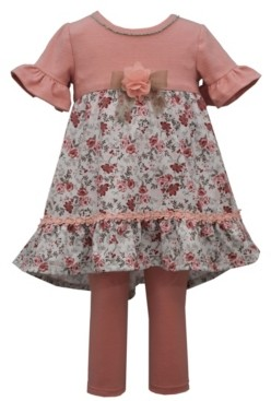 Bonnie Jean Toddler Girl Short Sleeved Knit To Knit Pant Set With Floral Flounce And Lace Trim, Solid Knit Legging