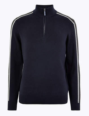Blue HarbourMarks and Spencer Pure Cotton Half Zip Striped Jumper
