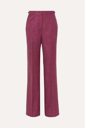 Gabriela Hearst Vesta Wool, Silk And Linen-blend Wide-leg Pants - Burgundy