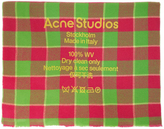 Acne Studios Pink and Green Check Logo Scarf