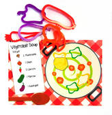 The Dotty Dough Factory Vegetable Soup Play Mat With Dough Cutters
